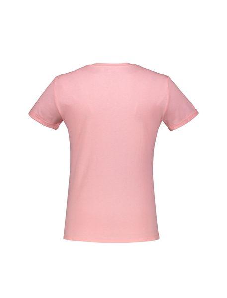 تی شرت نخی یقه گرد زنانه - صورتي - 2