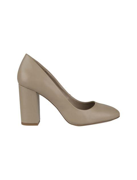کفش پاشنه بلند چرم زنانه - کرم - 1