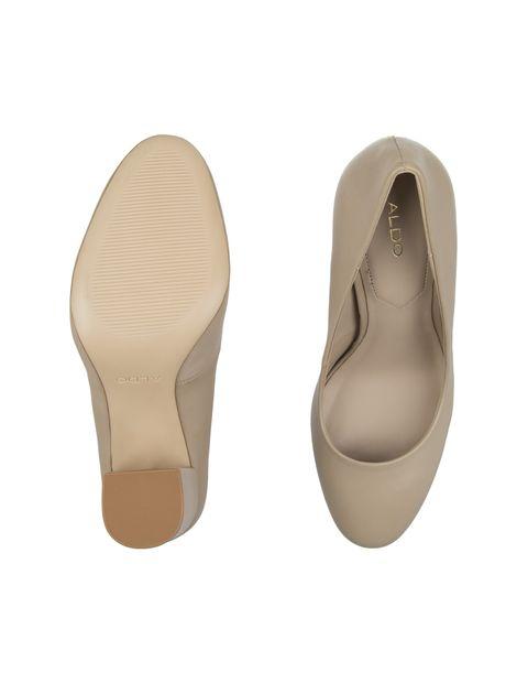 کفش پاشنه بلند چرم زنانه - کرم - 2