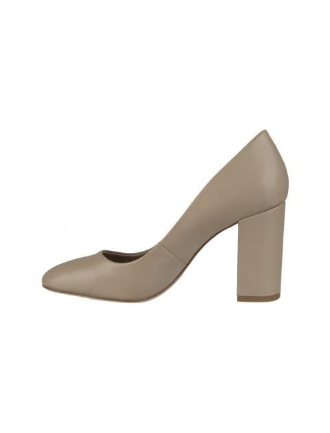 کفش پاشنه بلند چرم زنانه - کرم - 3