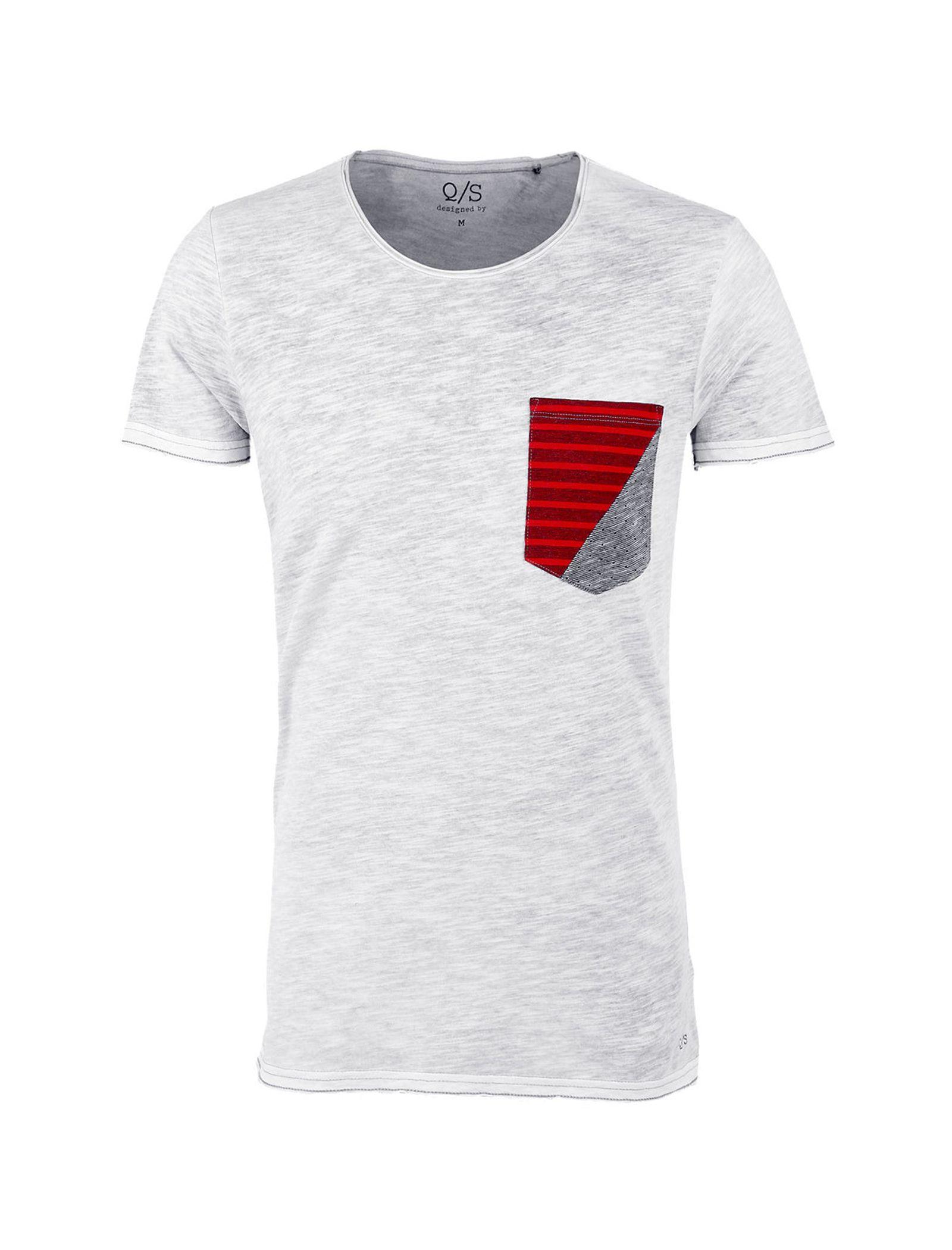 تی شرت نخی یقه گرد مردانه - اس.اولیور - طوسي قرمز - 1