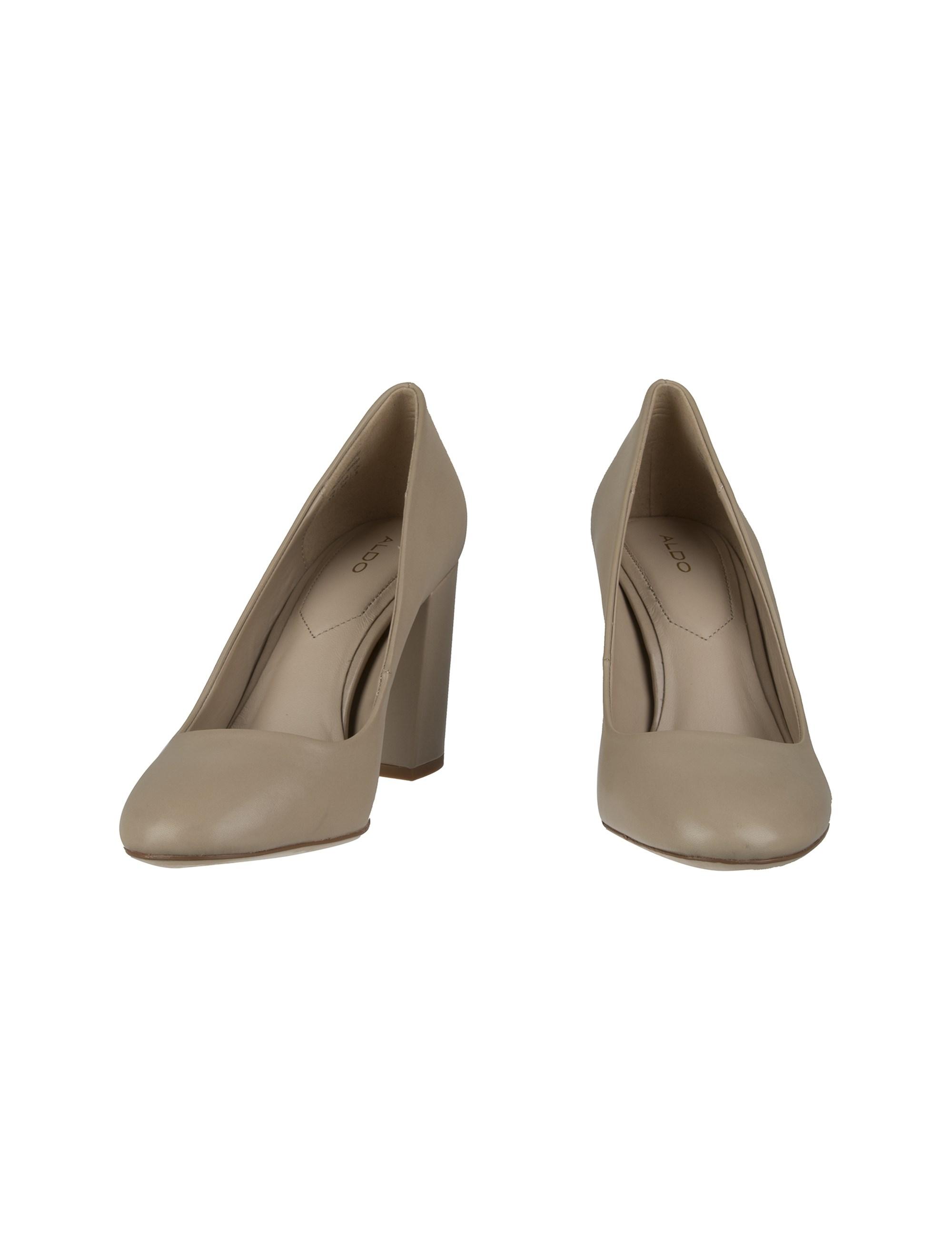 کفش پاشنه بلند چرم زنانه - کرم - 4