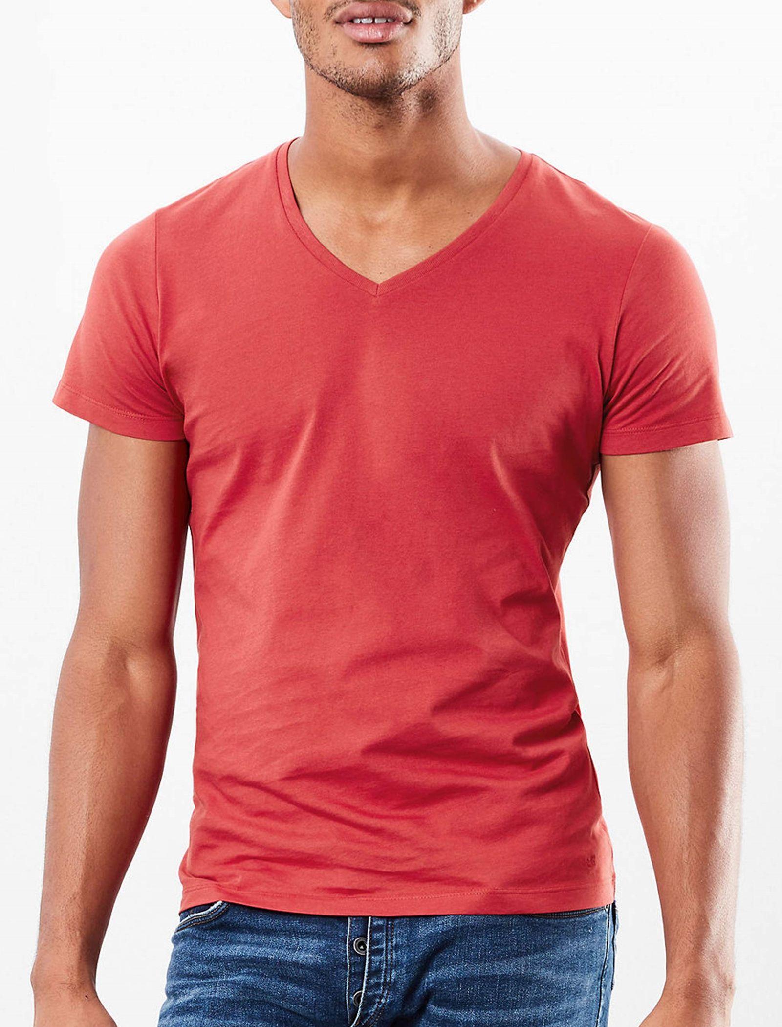 تی شرت نخی یقه هفت مردانه - اس.اولیور - قرمز - 2