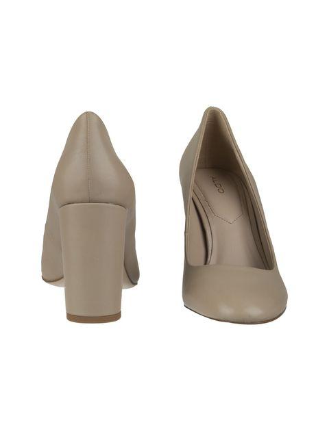 کفش پاشنه بلند چرم زنانه - کرم - 5