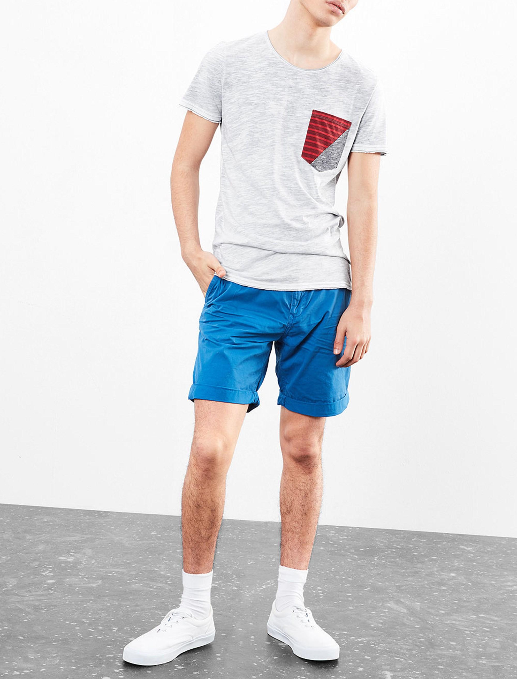 تی شرت نخی یقه گرد مردانه - اس.اولیور - طوسي قرمز - 2
