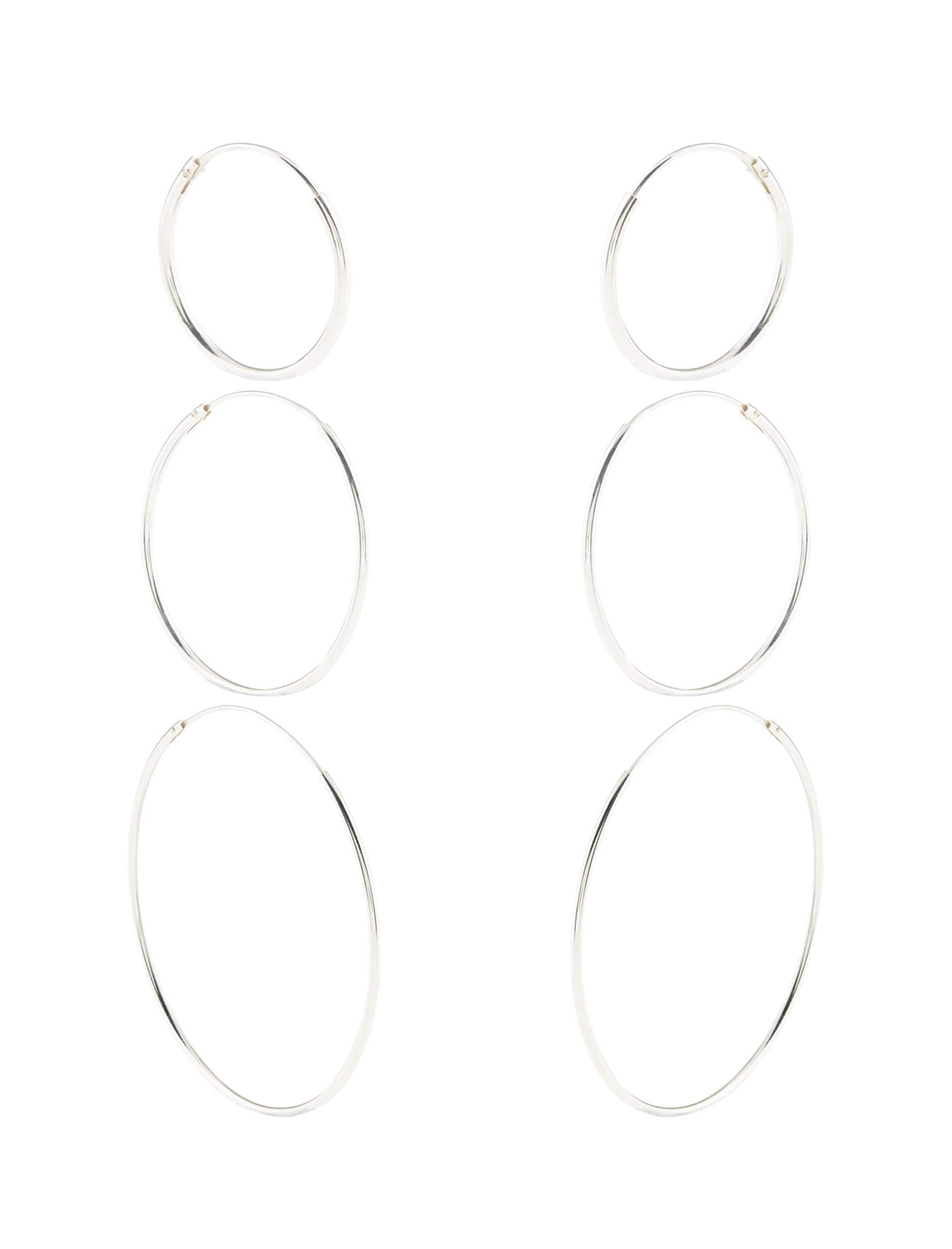 گوشواره نقره حلقه ای زنانه Sterling Silver 3X Simple Hoop