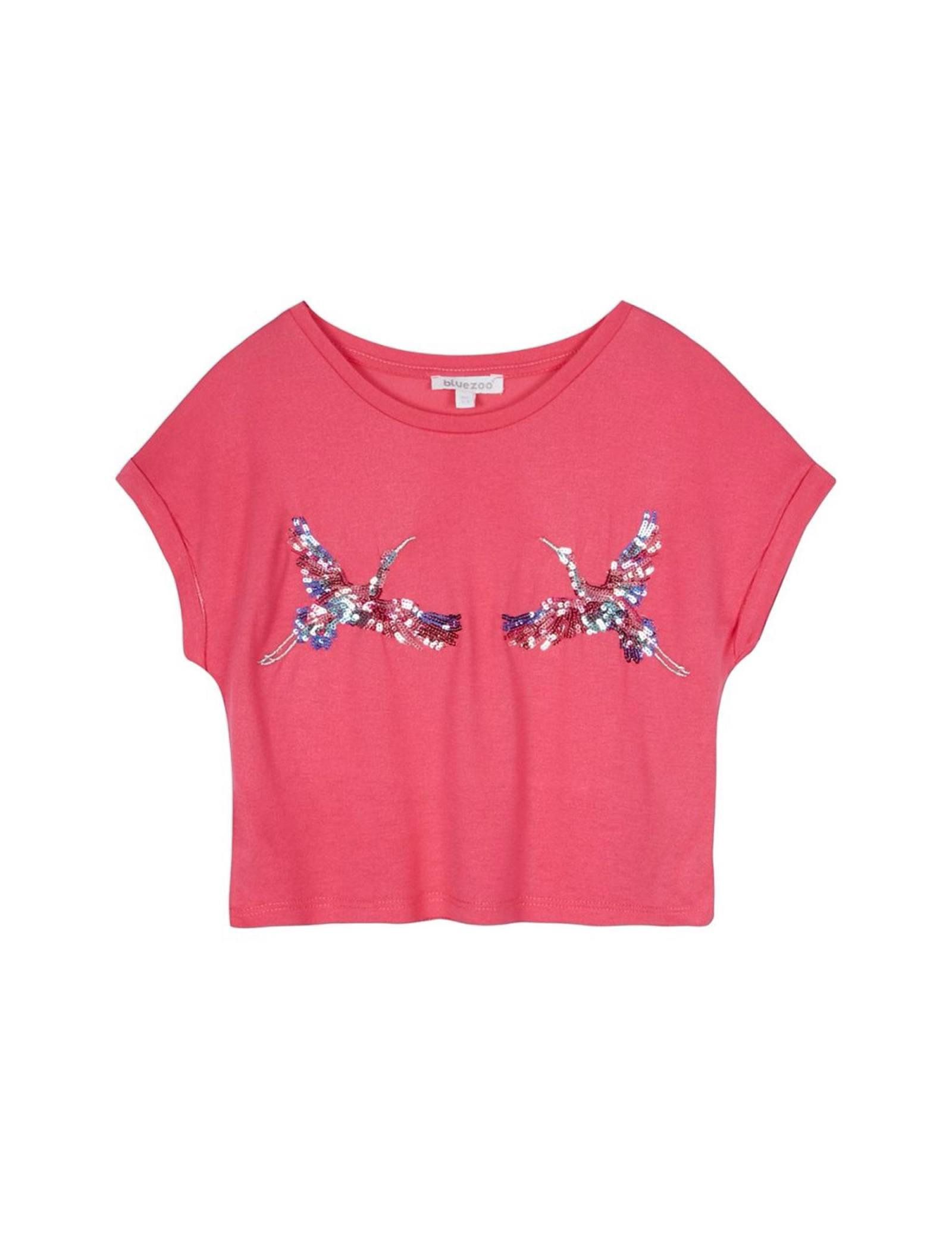 تی شرت ویسکوز یقه گرد دخترانه - بلوزو - صورتي - 1