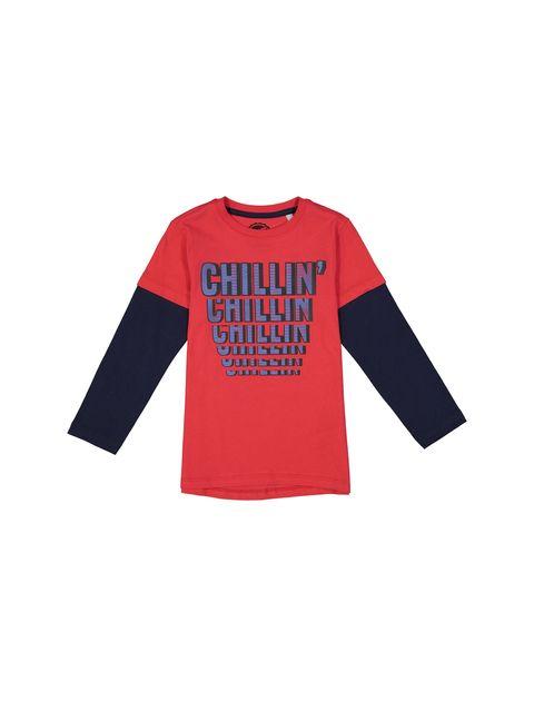 تی شرت نخی یقه گرد پسرانه - قرمز - 1