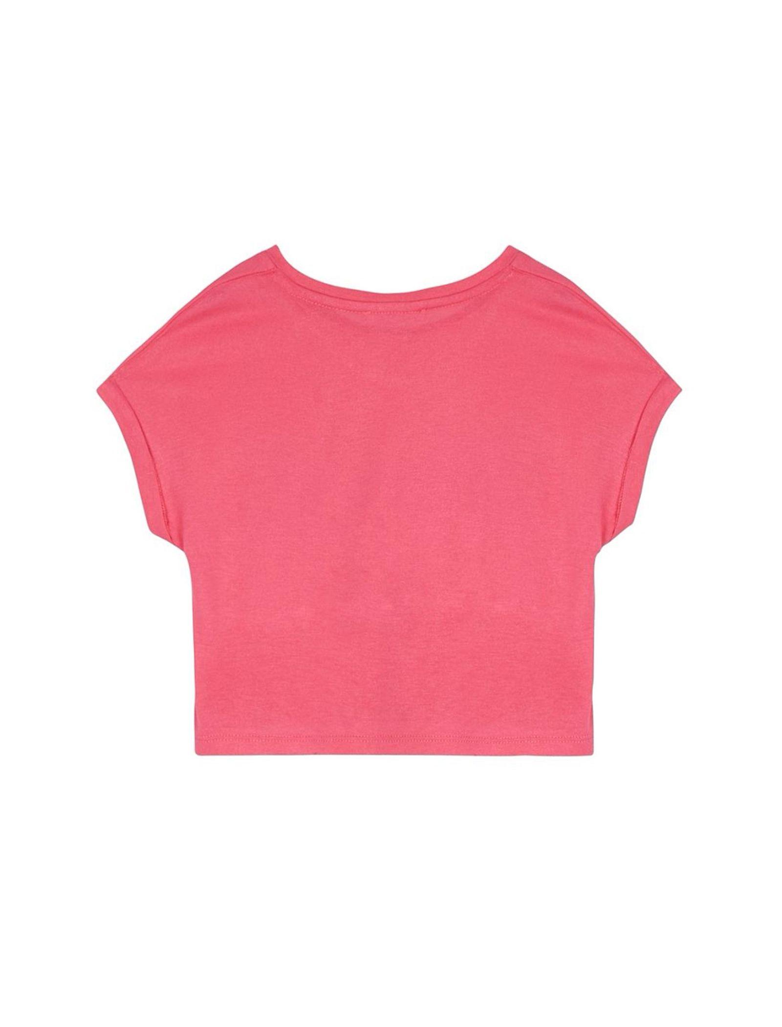 تی شرت ویسکوز یقه گرد دخترانه - بلوزو - صورتي - 2