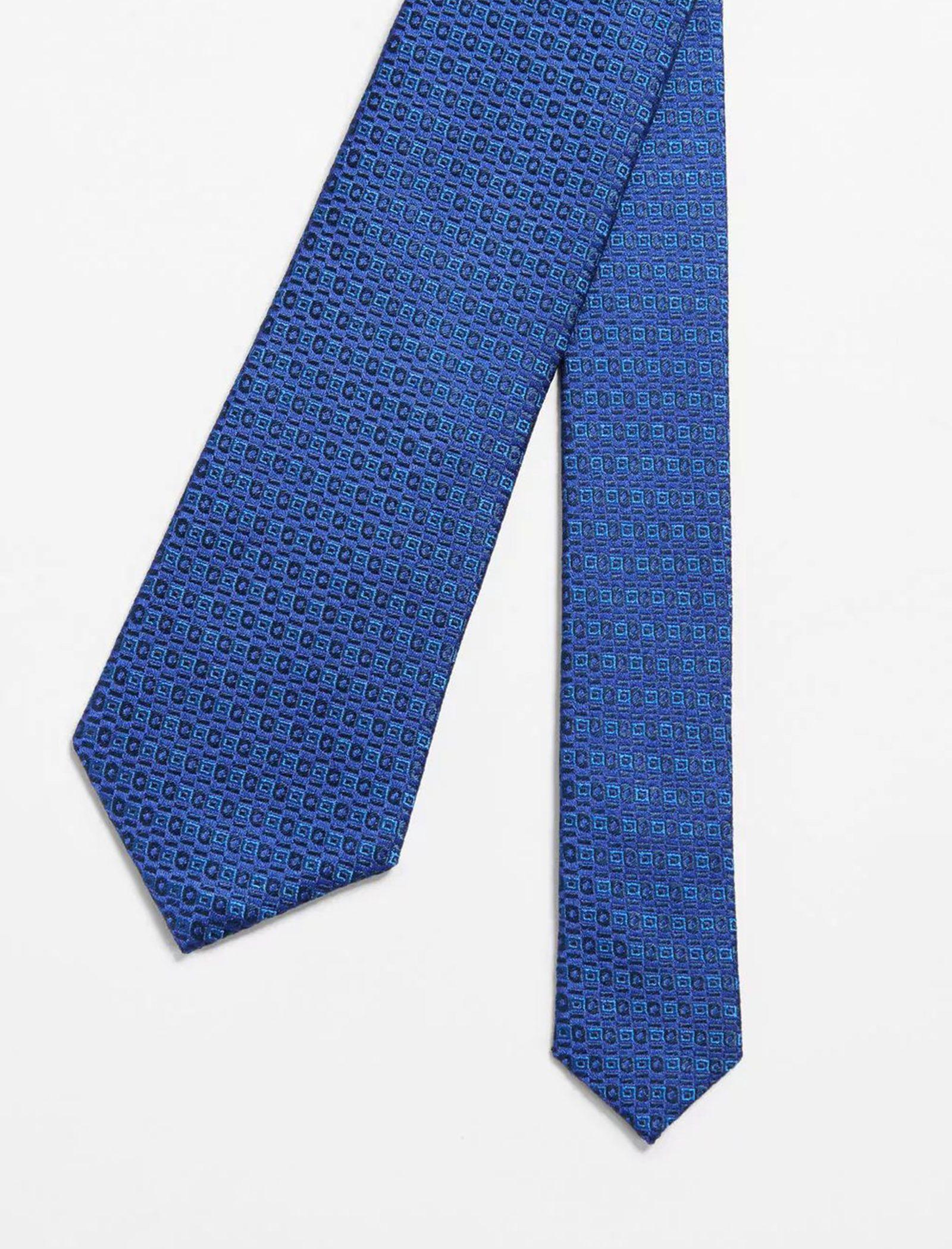 کراوات ابریشم طرح دار مردانه - مانگو - سرمه اي - 3