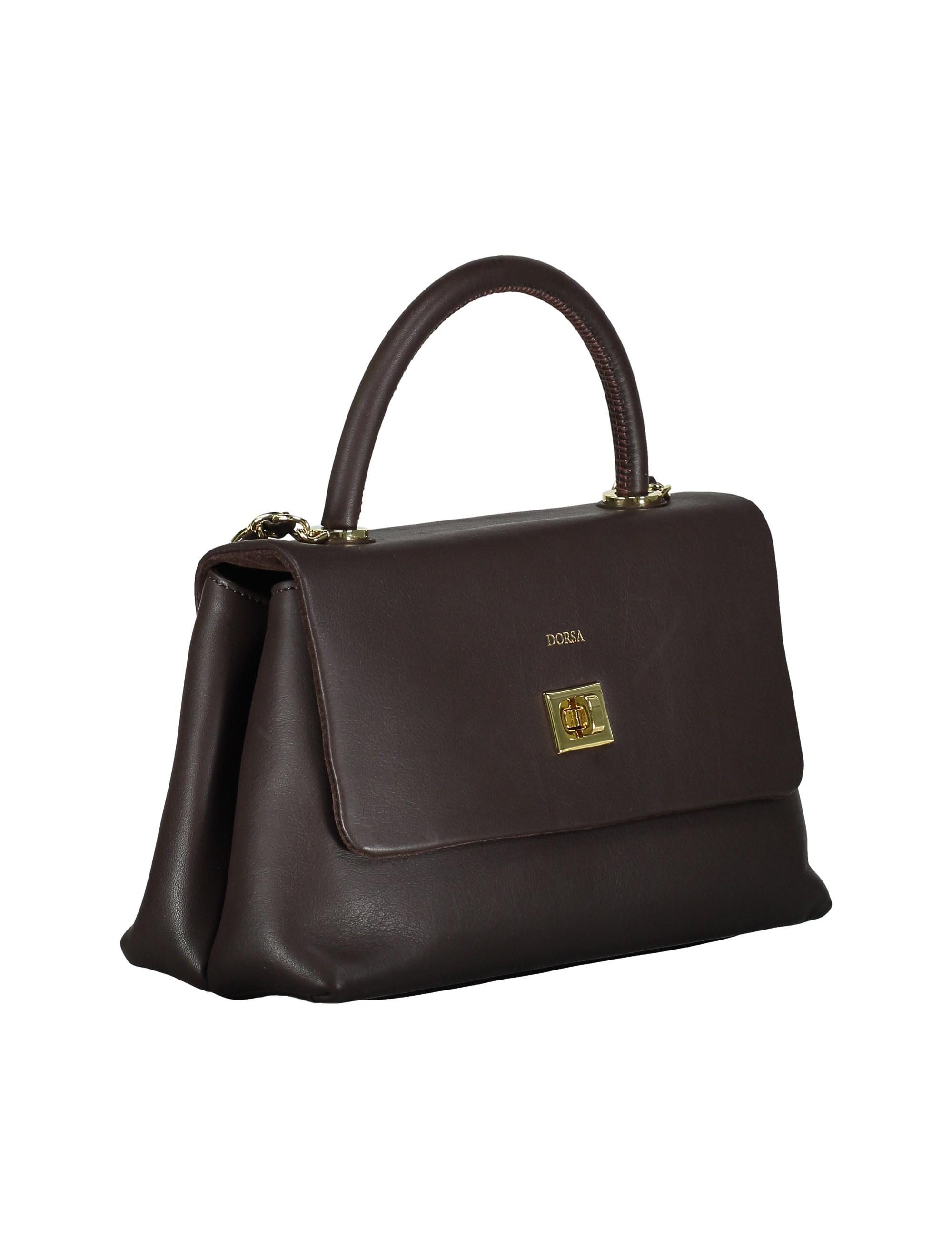 کیف دستی چرم روزمره زنانه - درسا - قهوه اي - 4