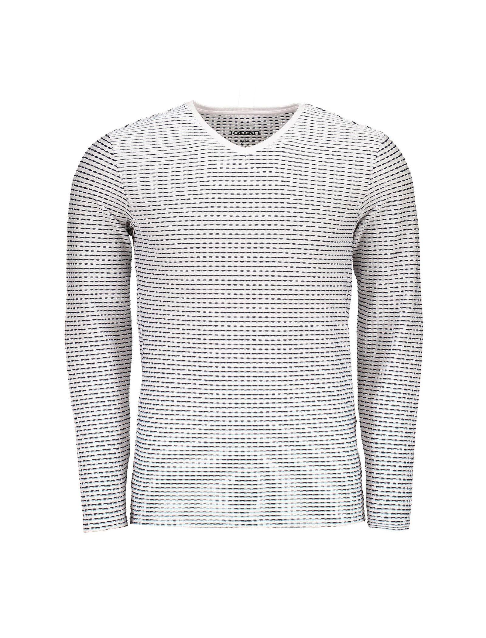 تی شرت یقه هفت مردانه - کوتون - سفيد و سرمه اي - 1