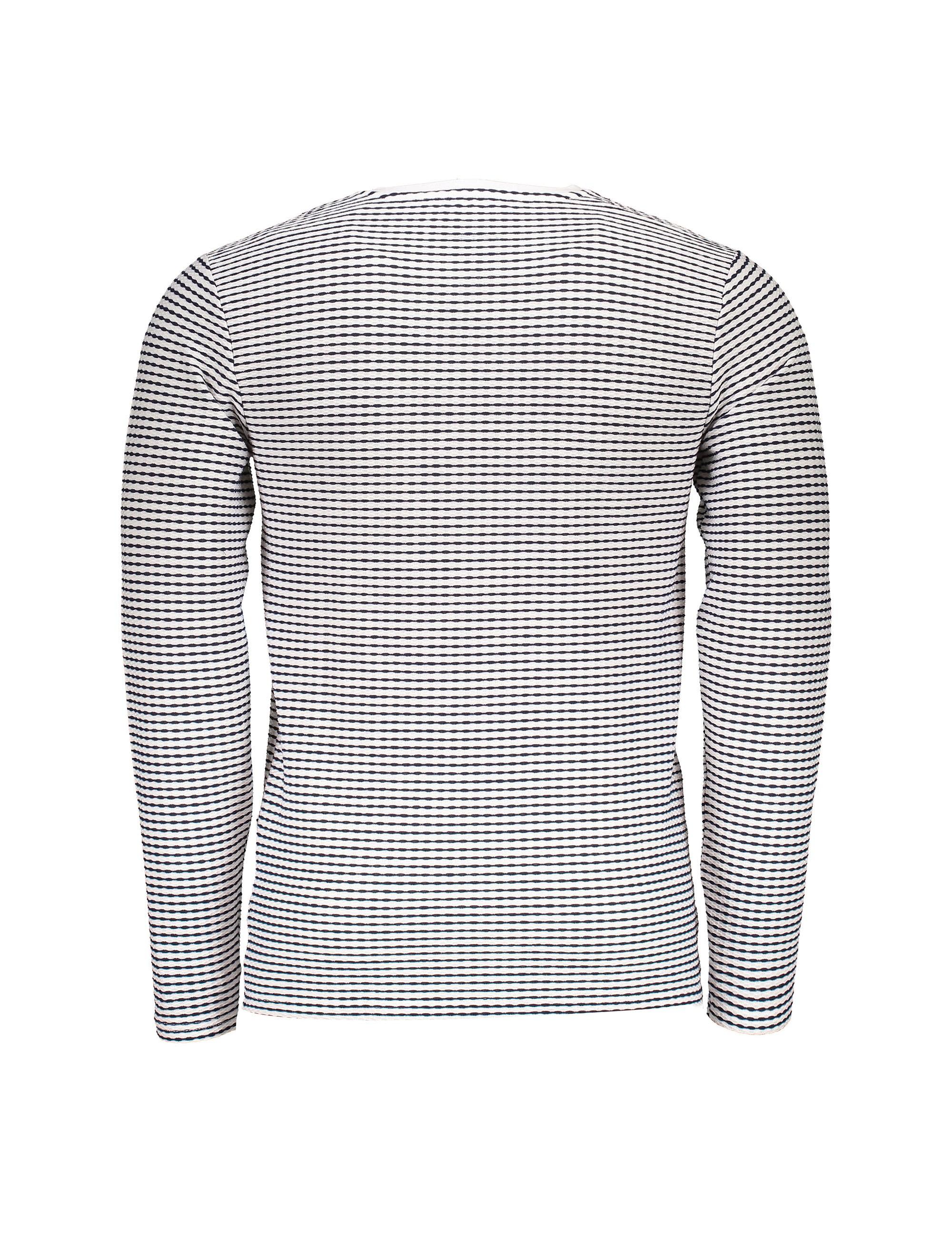 تی شرت یقه هفت مردانه - کوتون - سفيد و سرمه اي - 2