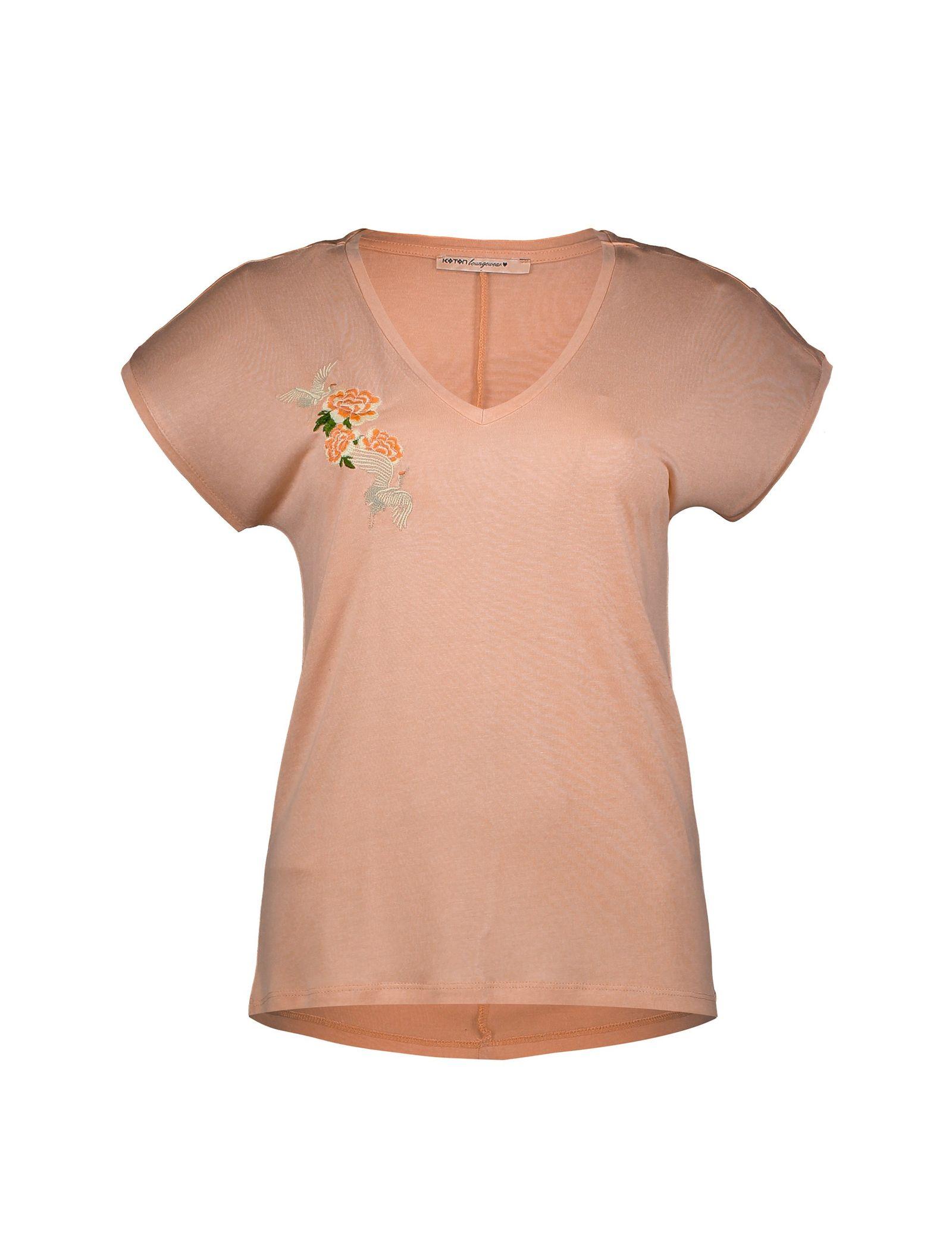 تی شرت ویسکوز یقه هفت زنانه - کوتون - صورتي - 1