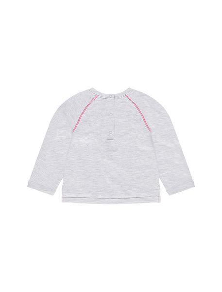 تی شرت نخی یقه گرد نوزادی دخترانه - طوسي ملانژ - 2