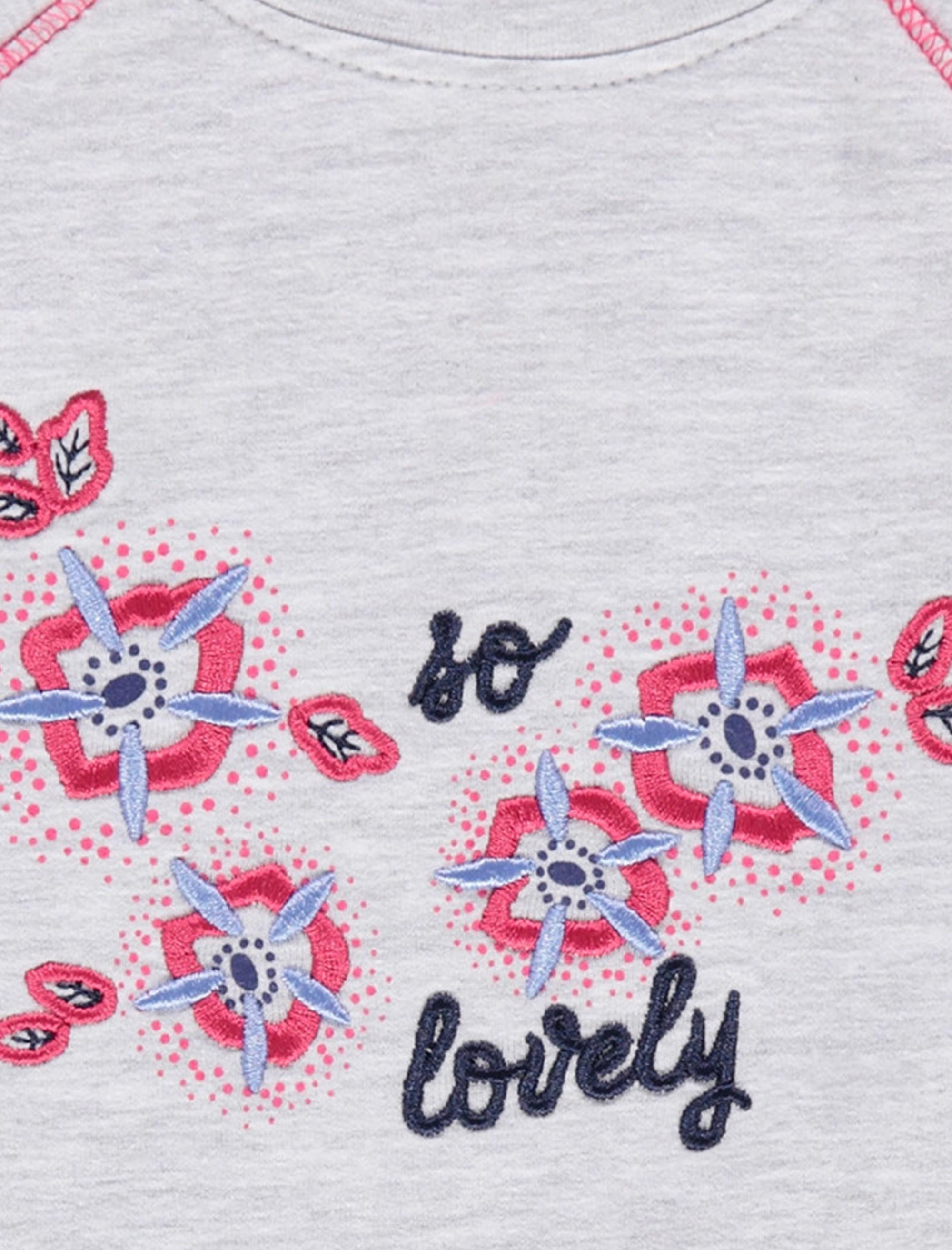 تی شرت نخی یقه گرد نوزادی دخترانه - ارکسترا - طوسي ملانژ - 3