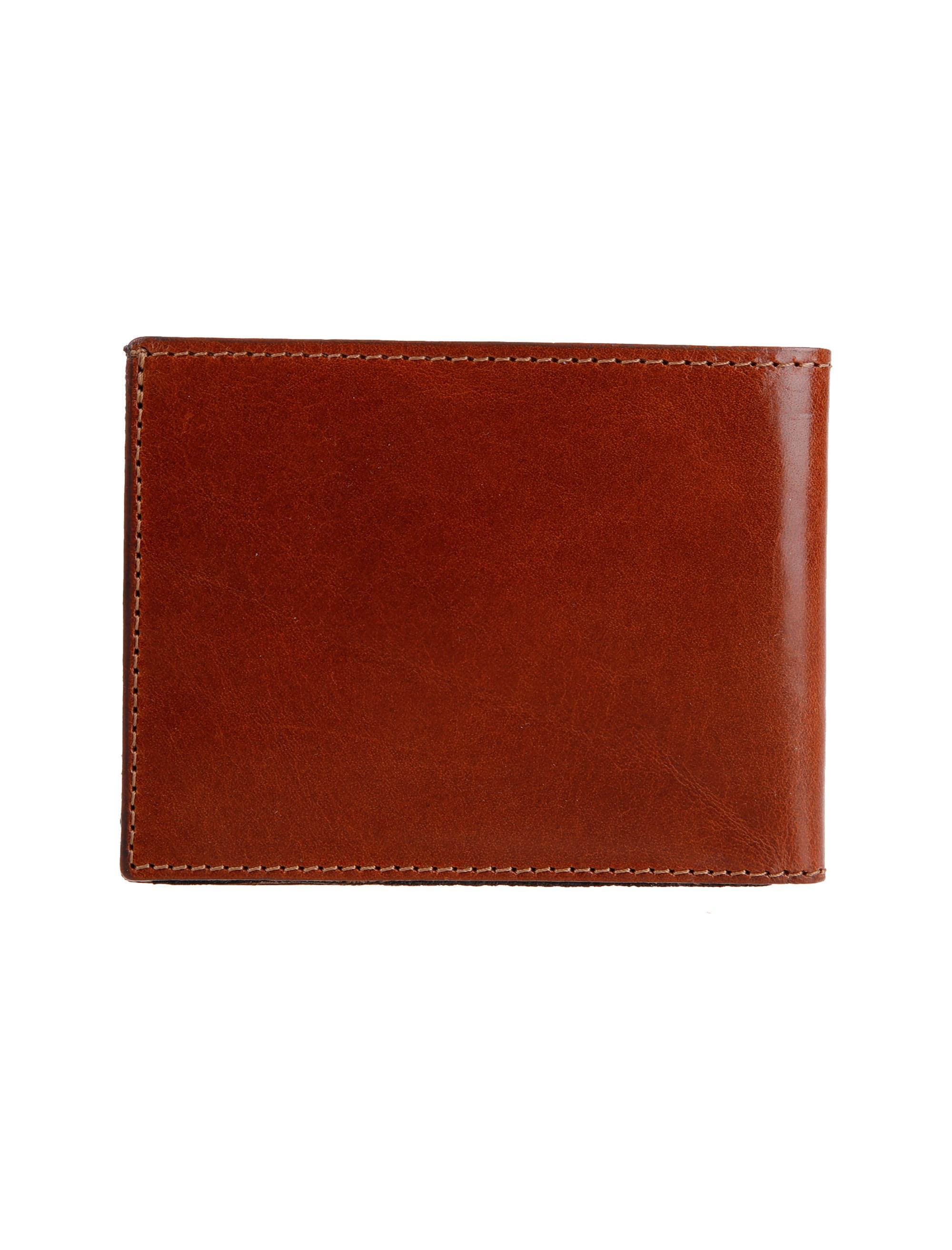 کیف پول چرم کتابی مردانه - عسلي - 2