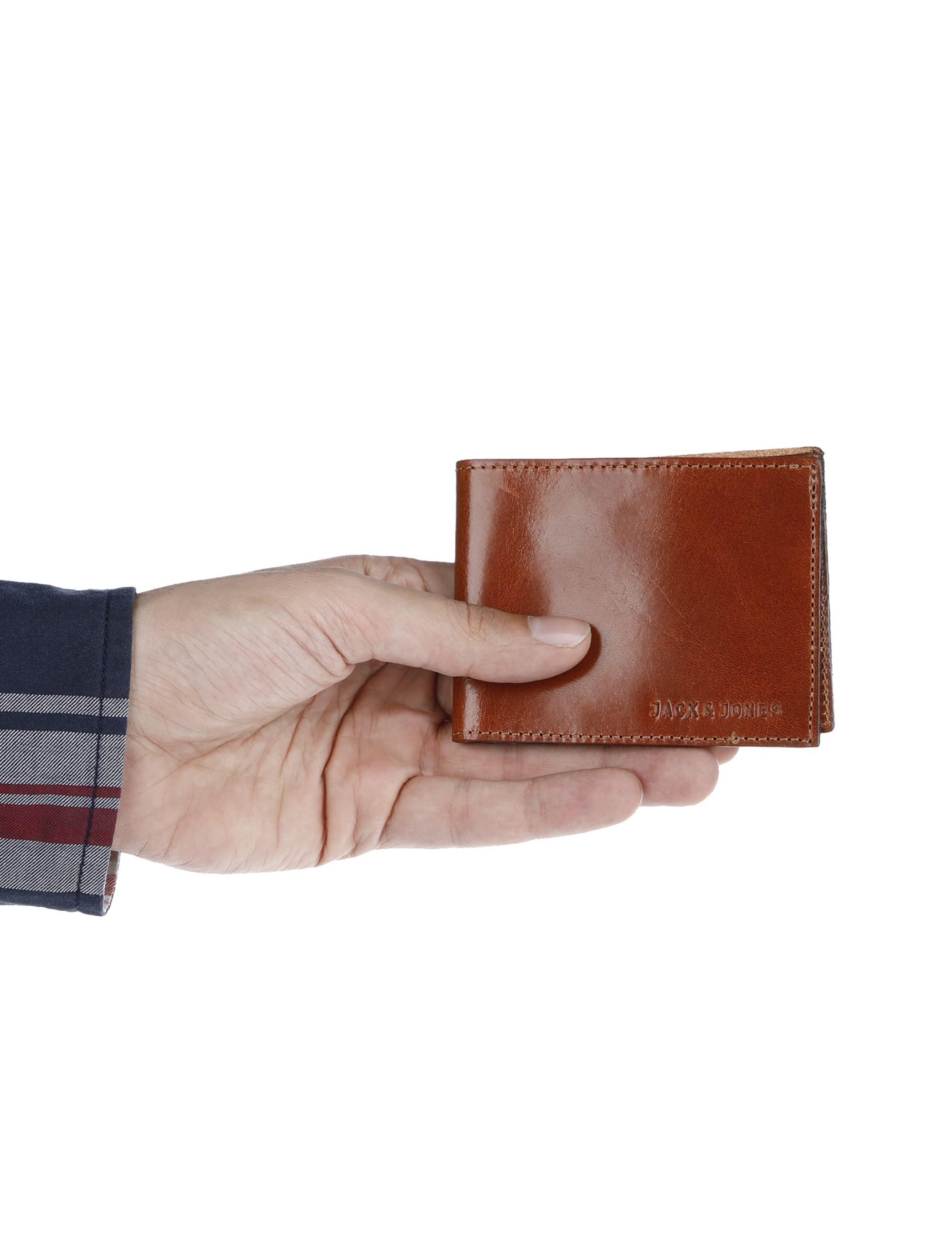 کیف پول چرم کتابی مردانه - عسلي - 4