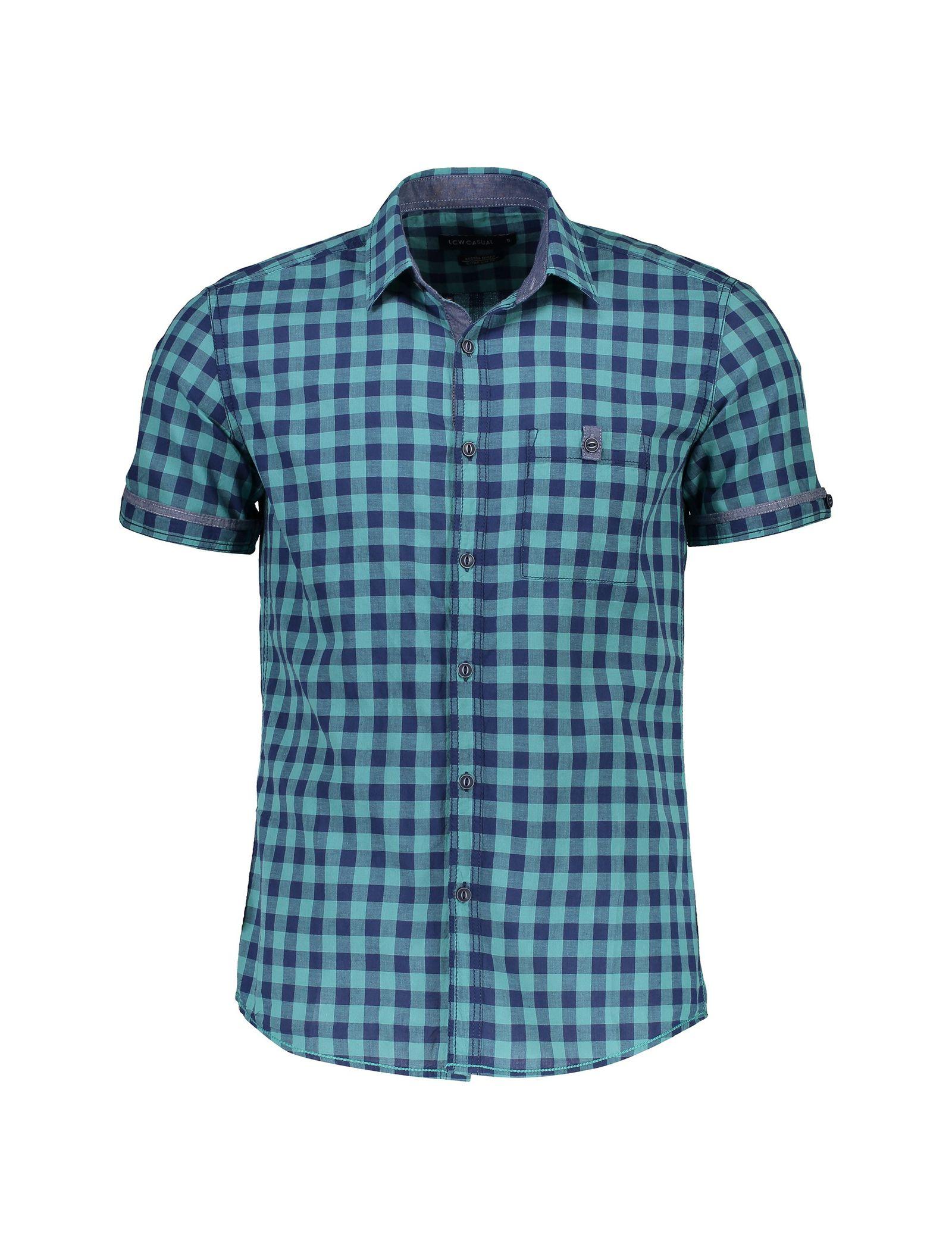 پیراهن نخی آستین کوتاه مردانه - ال سی وایکیکی - سبز آبي - 1