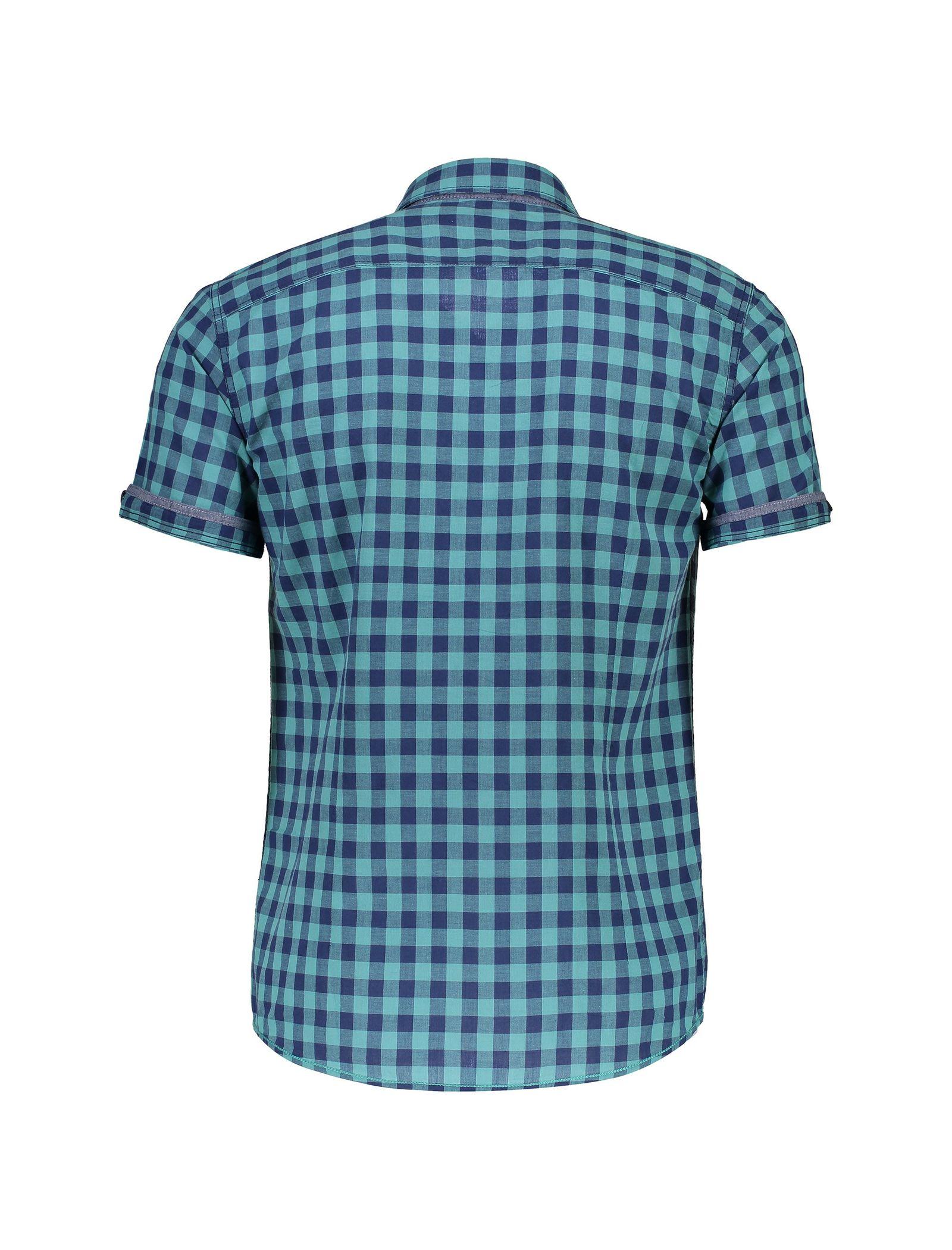 پیراهن نخی آستین کوتاه مردانه - ال سی وایکیکی - سبز آبي - 2