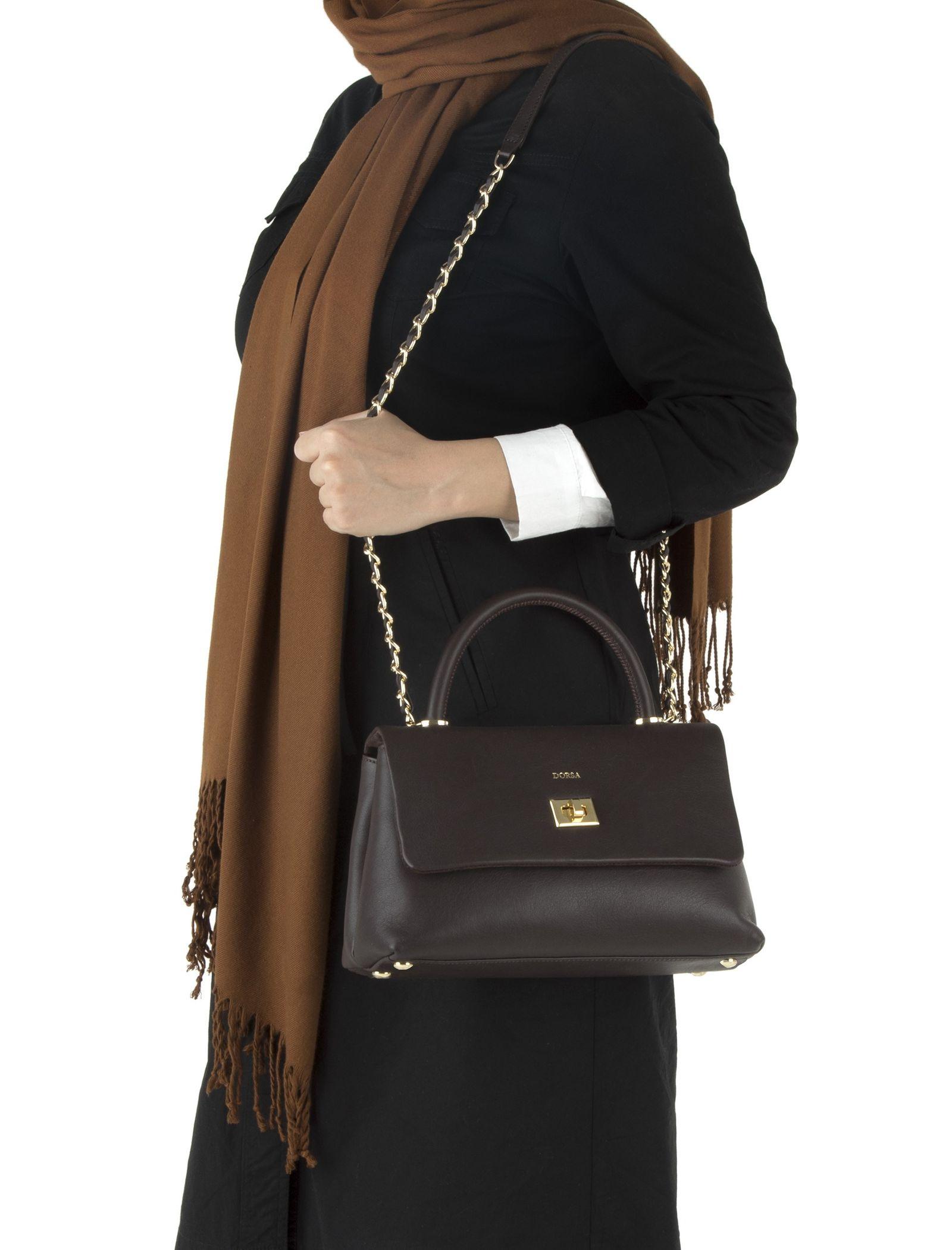 کیف دستی چرم روزمره زنانه - درسا - قهوه اي - 7