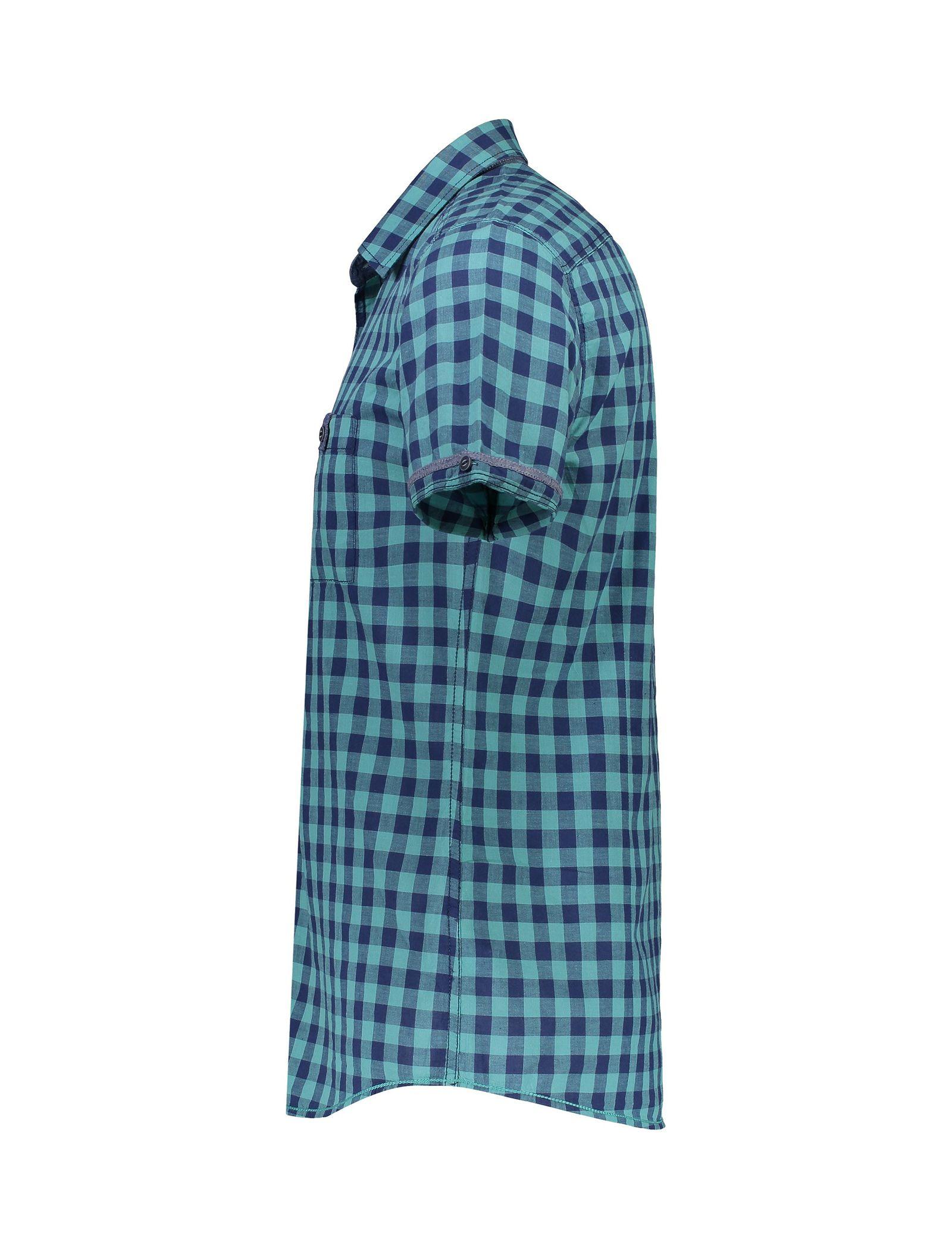پیراهن نخی آستین کوتاه مردانه - ال سی وایکیکی - سبز آبي - 3