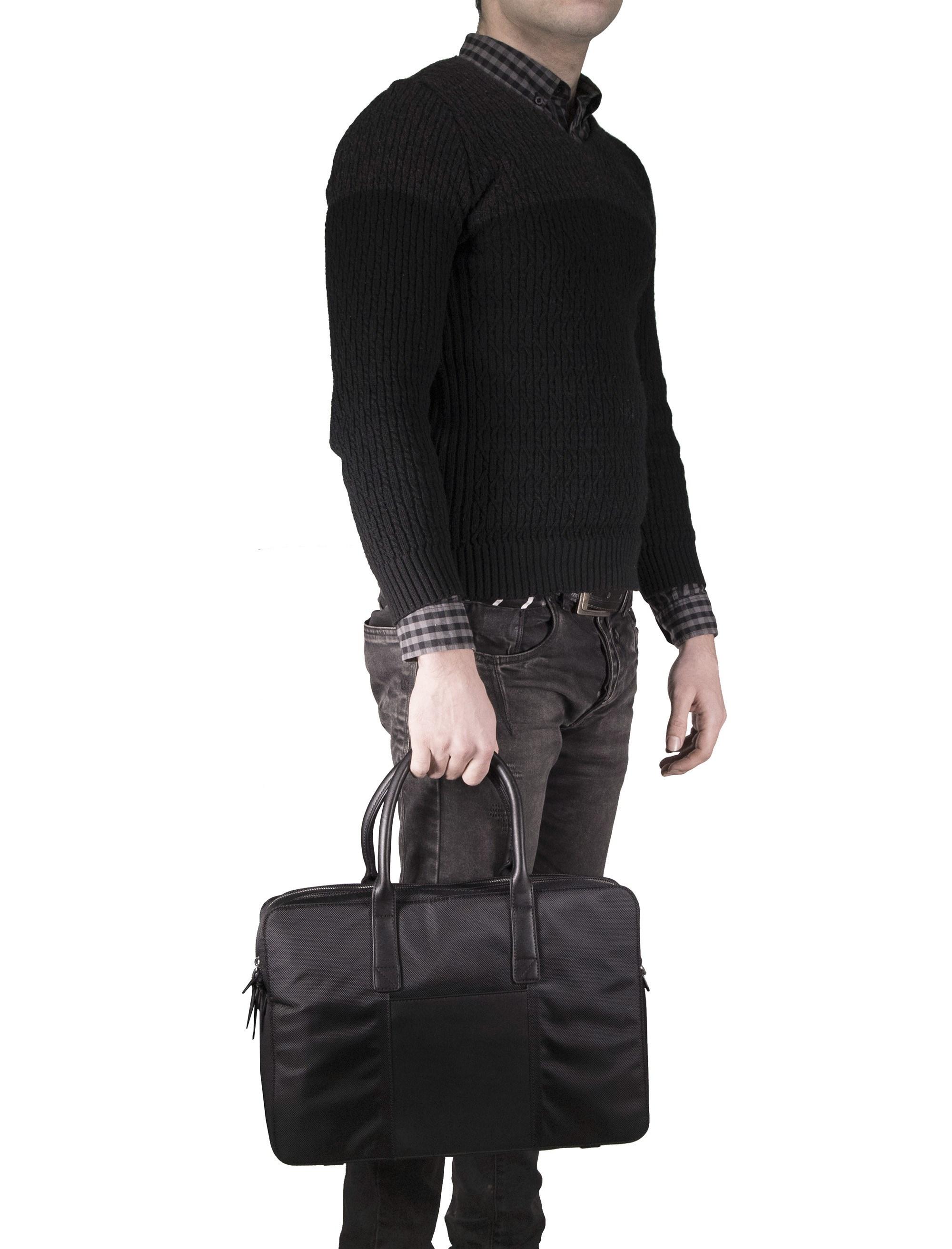کیف دوشی روزمره مردانه - مانگو - مشکي - 7