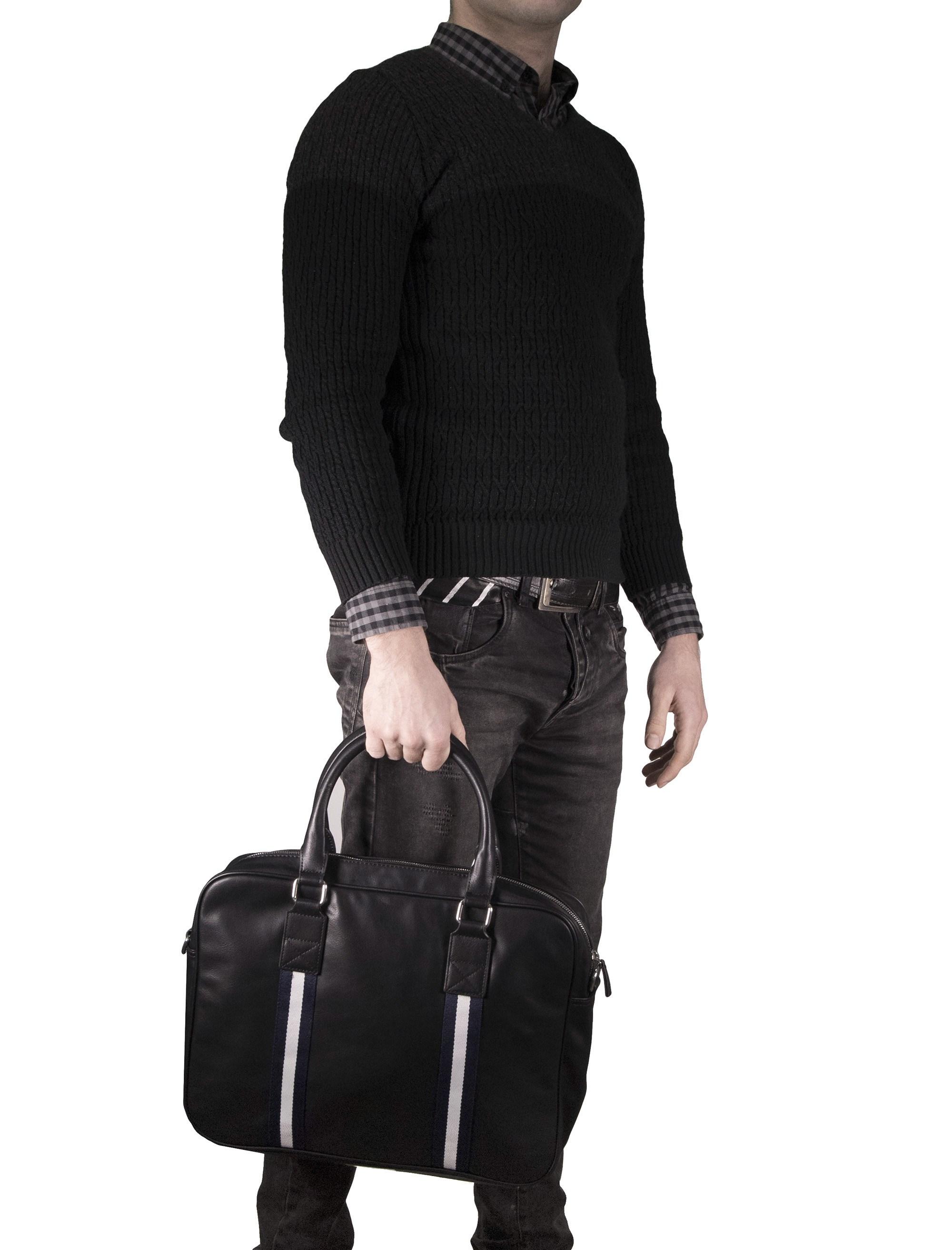 کیف دوشی روزمره مردانه - مانگو - مشکي - 8