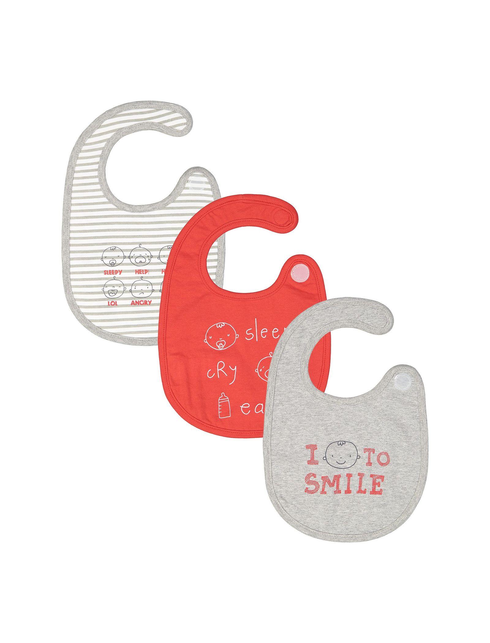 پیش بند پنبه ای نوزادی بسته سه عددی - ارکسترا - طوسي - 10
