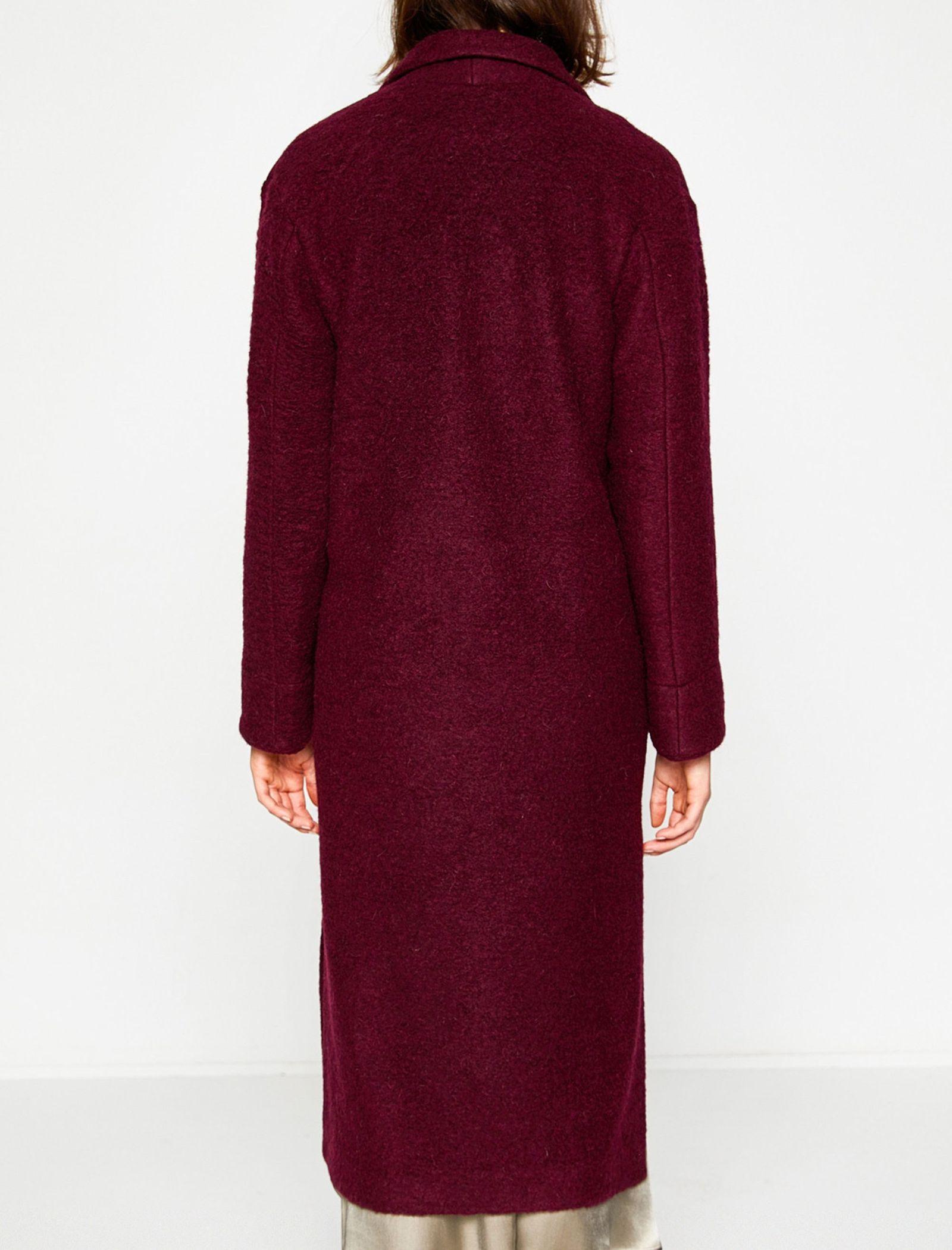 پالتو پشمی بلند زنانه - کوتون - زرشکي - 2