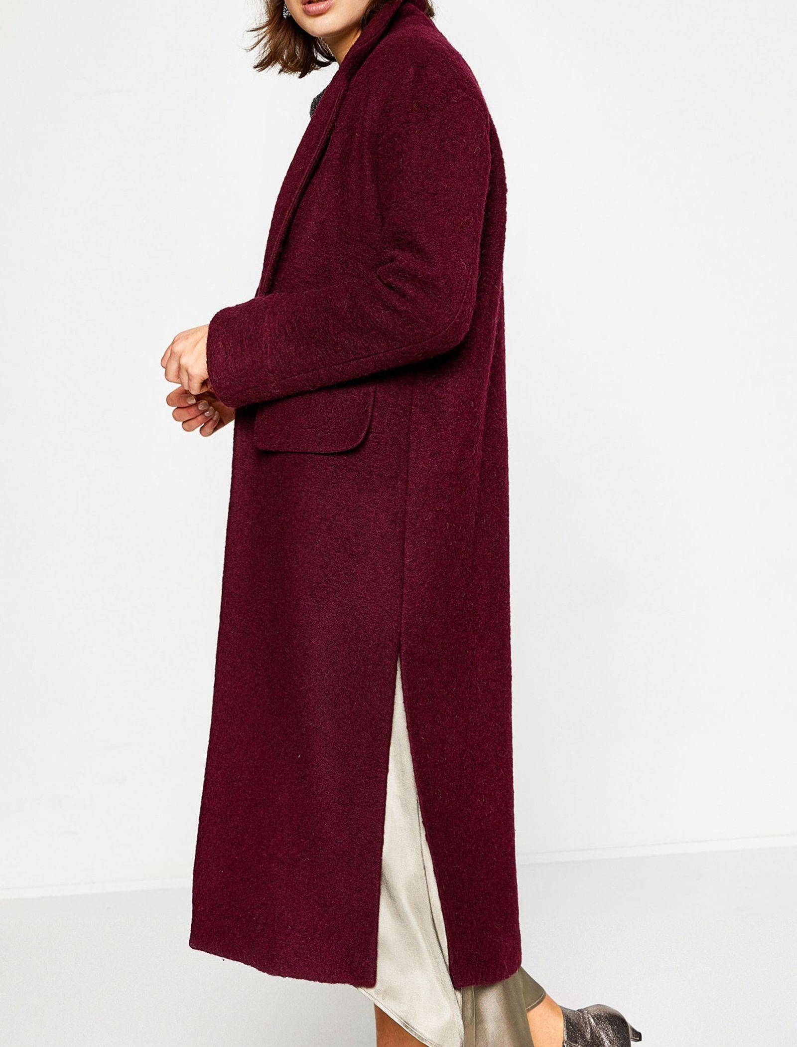 پالتو پشمی بلند زنانه - کوتون - زرشکي - 3