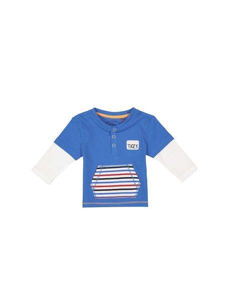 تی شرت نخی آستین بلند نوزادی پسرانه - آبي - 1