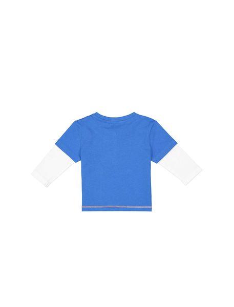 تی شرت نخی آستین بلند نوزادی پسرانه - آبي - 2