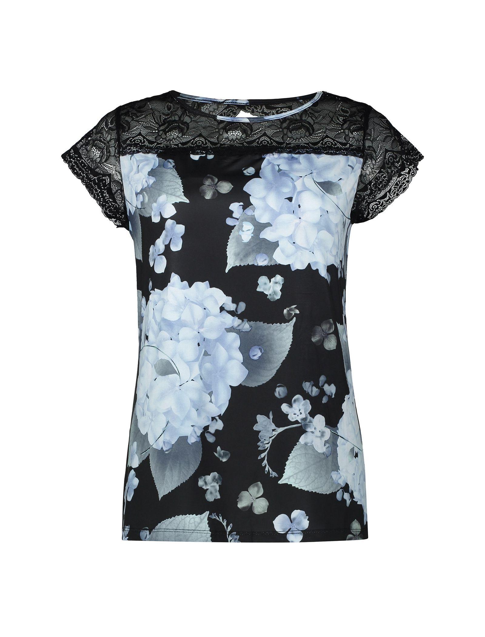 تی شرت راحتی آستین کوتاه زنانه - لاوین رز - آبي و مشکي - 1