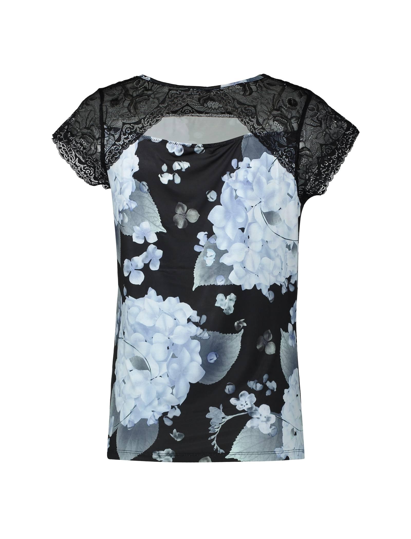 تی شرت راحتی آستین کوتاه زنانه - لاوین رز - آبي و مشکي - 2