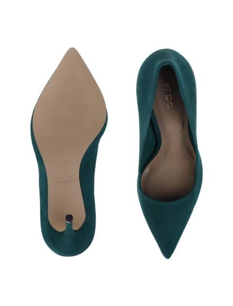 کفش پاشنه بلند چرم زنانه - سبز - 2