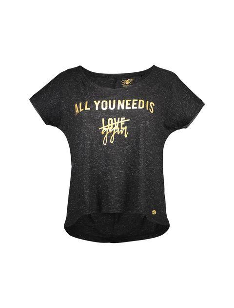 تی شرت یقه گرد زنانه - مشکي - 1