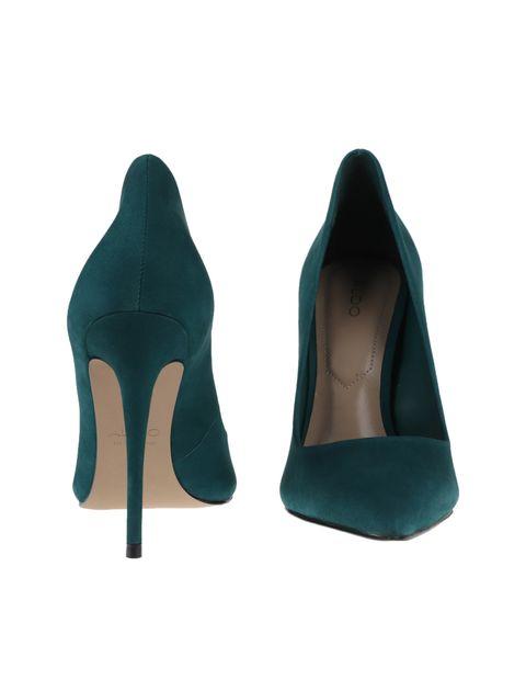 کفش پاشنه بلند چرم زنانه - سبز - 4