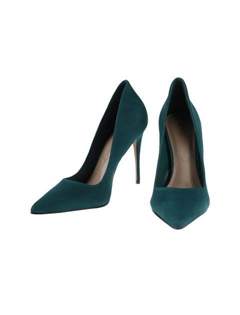 کفش پاشنه بلند چرم زنانه - سبز - 5