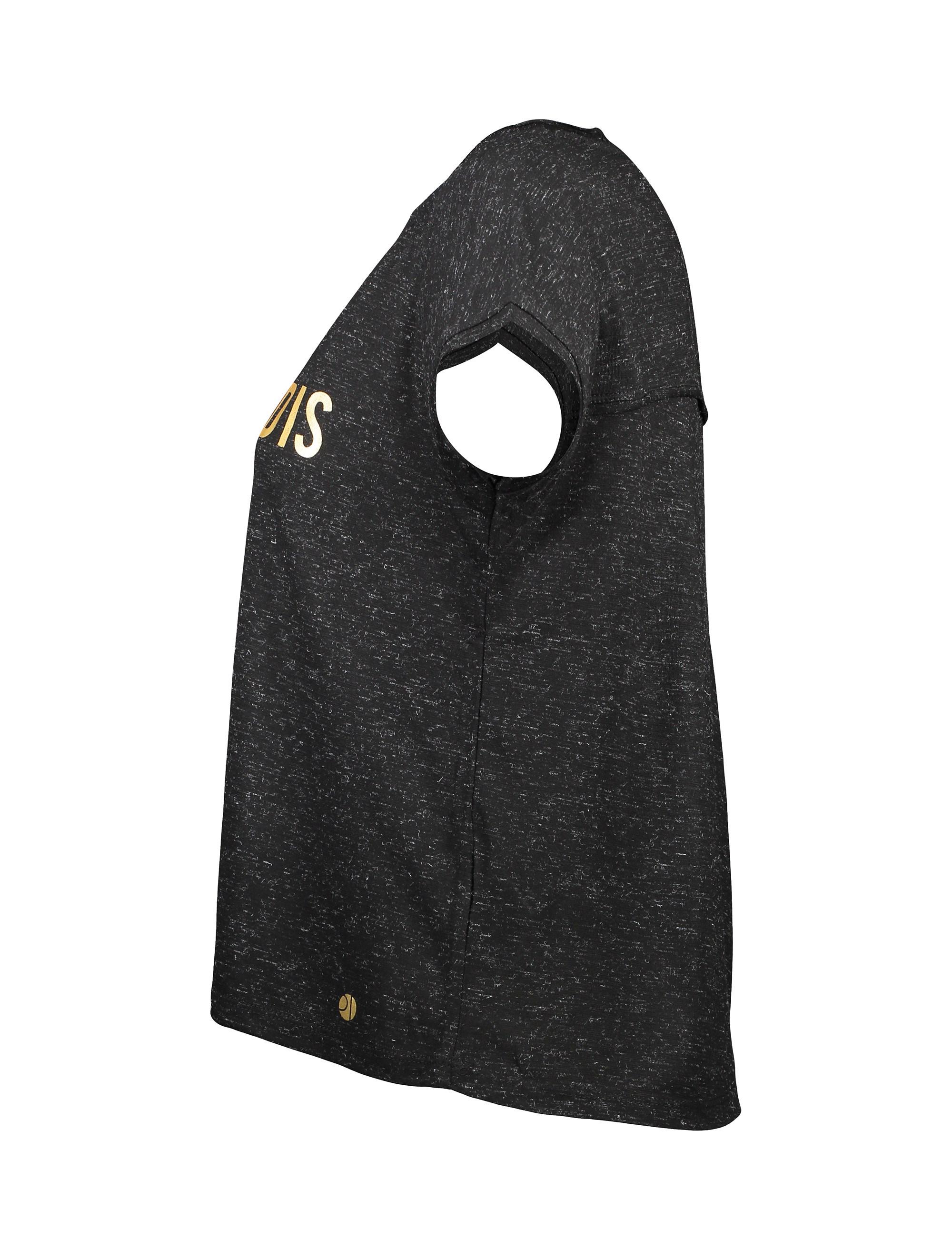 تی شرت یقه گرد زنانه - مشکي - 3