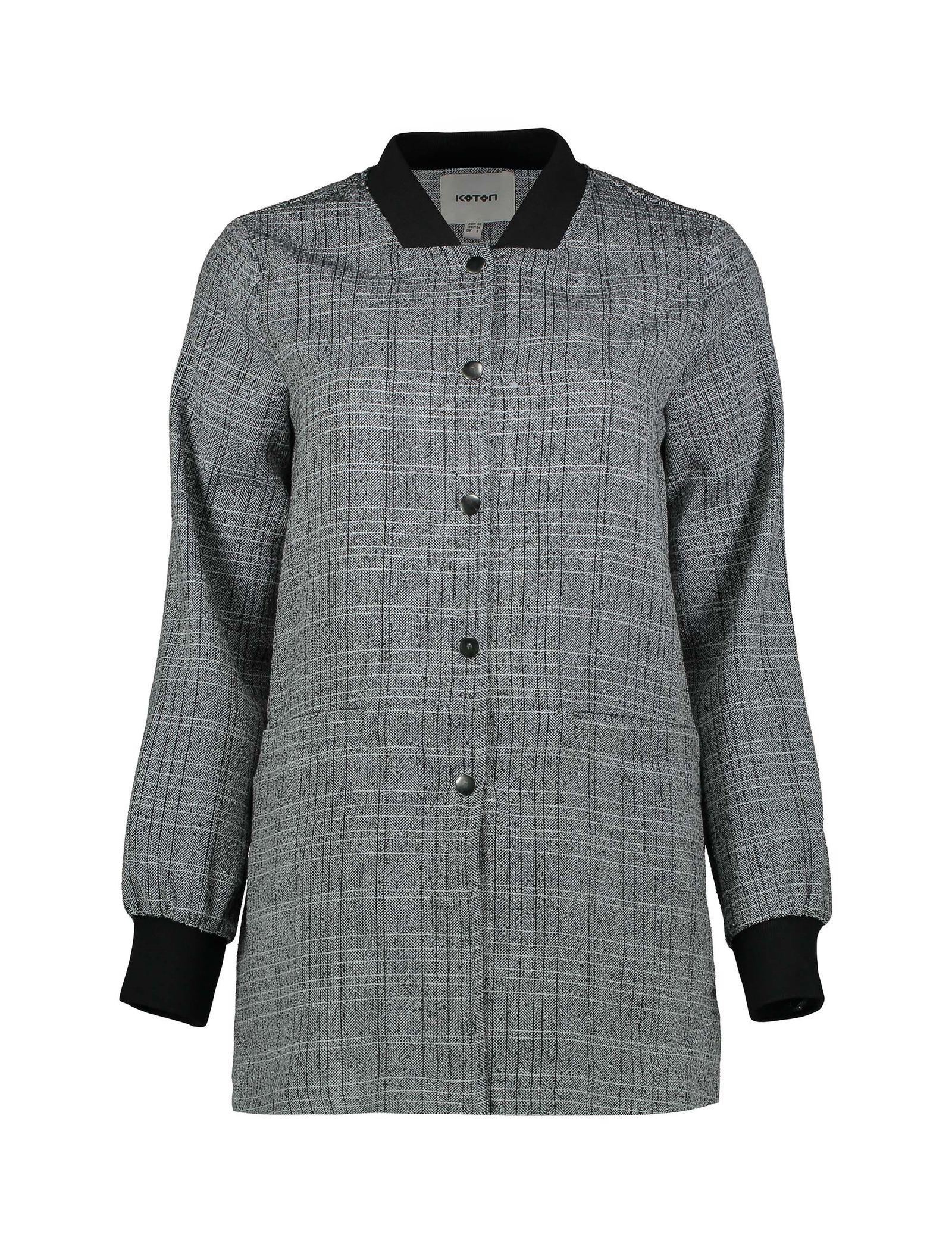 کت ویسکوز بلند زنانه - کوتون - طوسي - 1