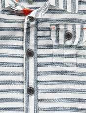 پیراهن نخی آستین کوتاه بلند پسرانه - ارکسترا - سفيد راه راه - 3
