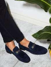 کفش اداری جیر مردانه - سرمه اي - 5