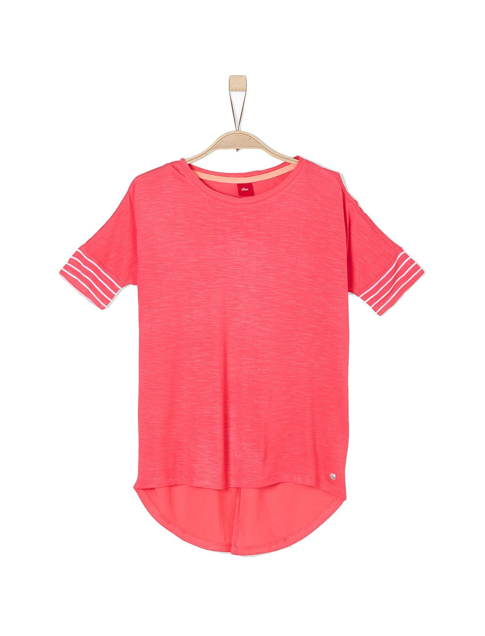 تی شرت ویسکوز یقه گرد دخترانه - اس.اولیور - صورتي - 1
