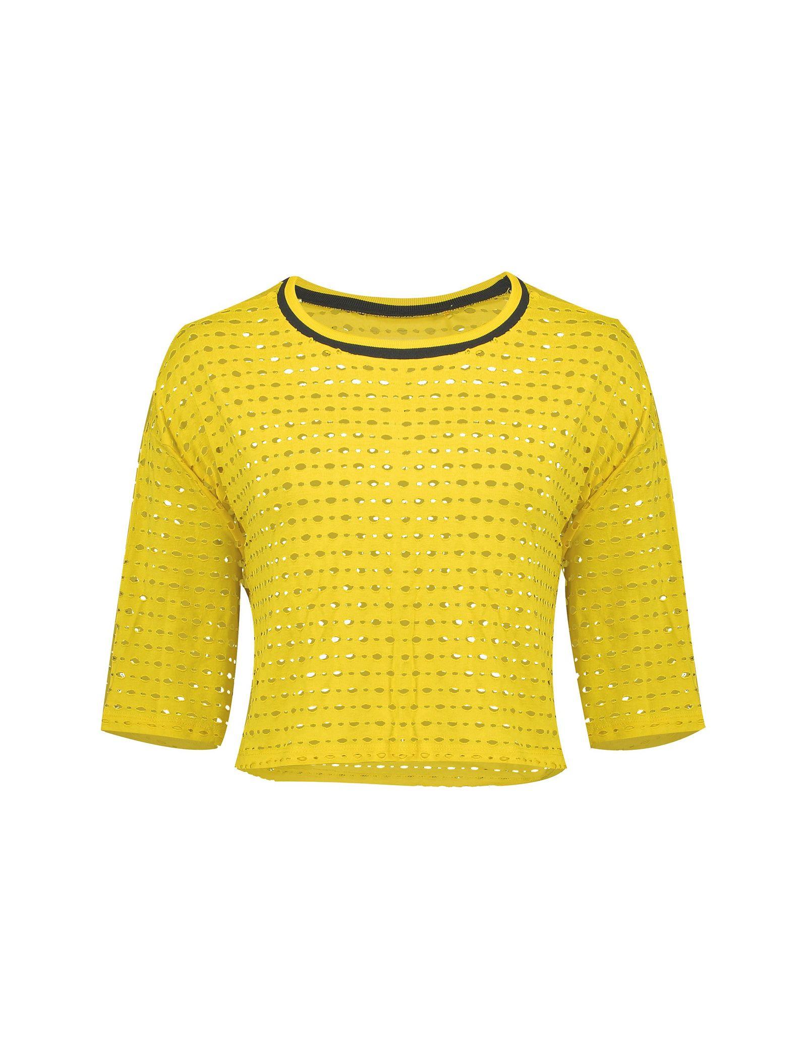 تی شرت ویسکوز یقه گرد زنانه - کوتون - زرد - 1