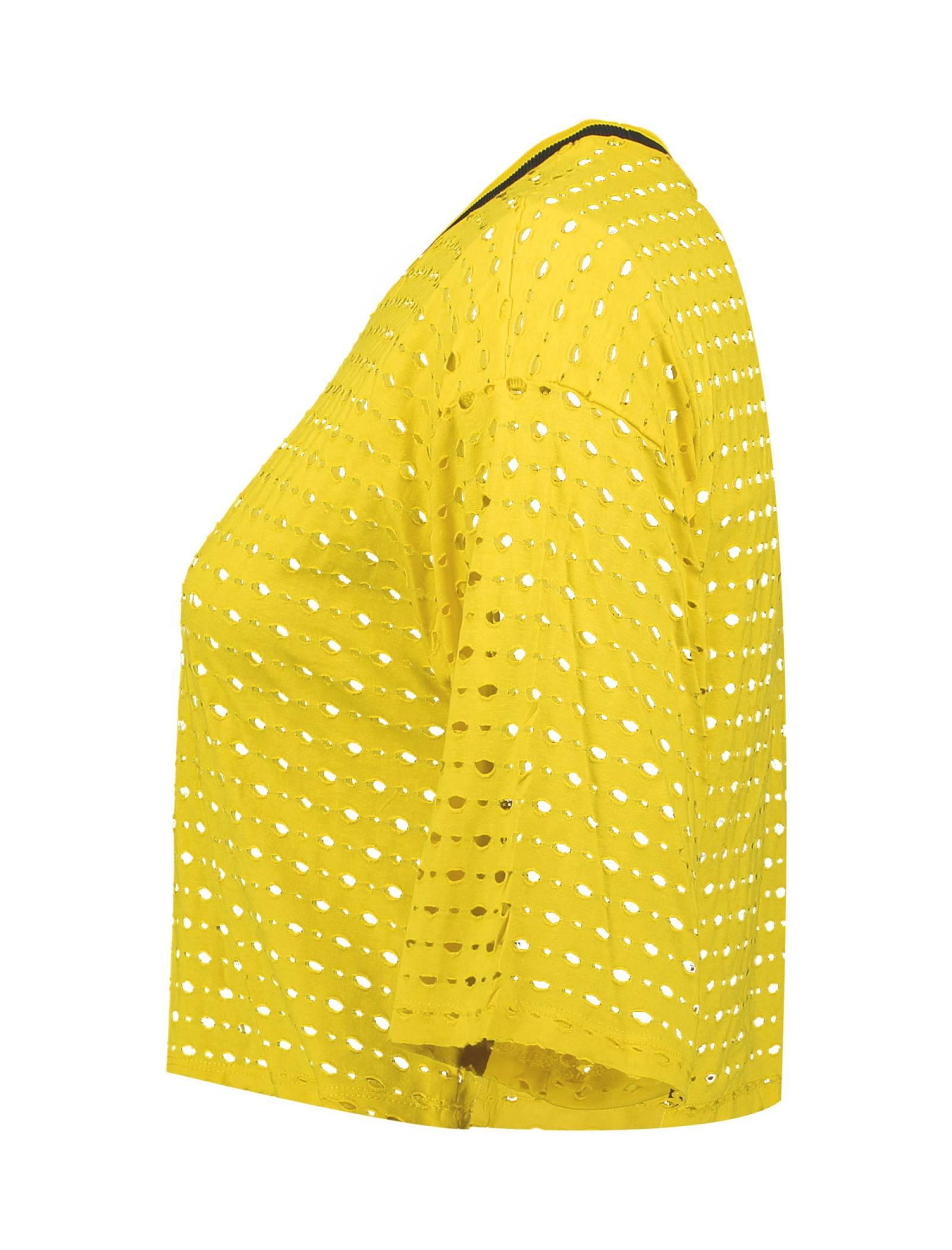 تی شرت ویسکوز یقه گرد زنانه - کوتون - زرد - 3