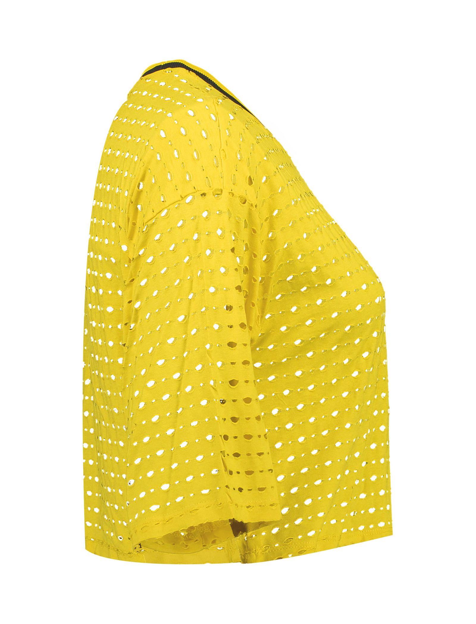 تی شرت ویسکوز یقه گرد زنانه - کوتون - زرد - 4