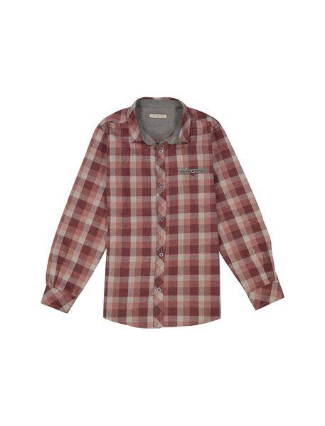 پیراهن نخی آستین بلند پسرانه - قرمز - 1