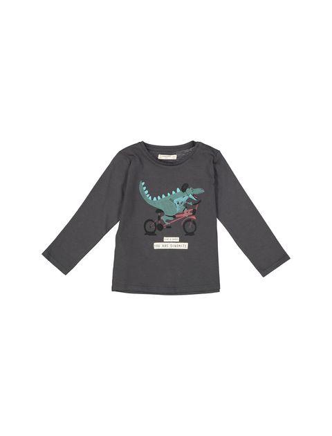 تی شرت نخی ساده نوزادی پسرانه - زغالي - 1