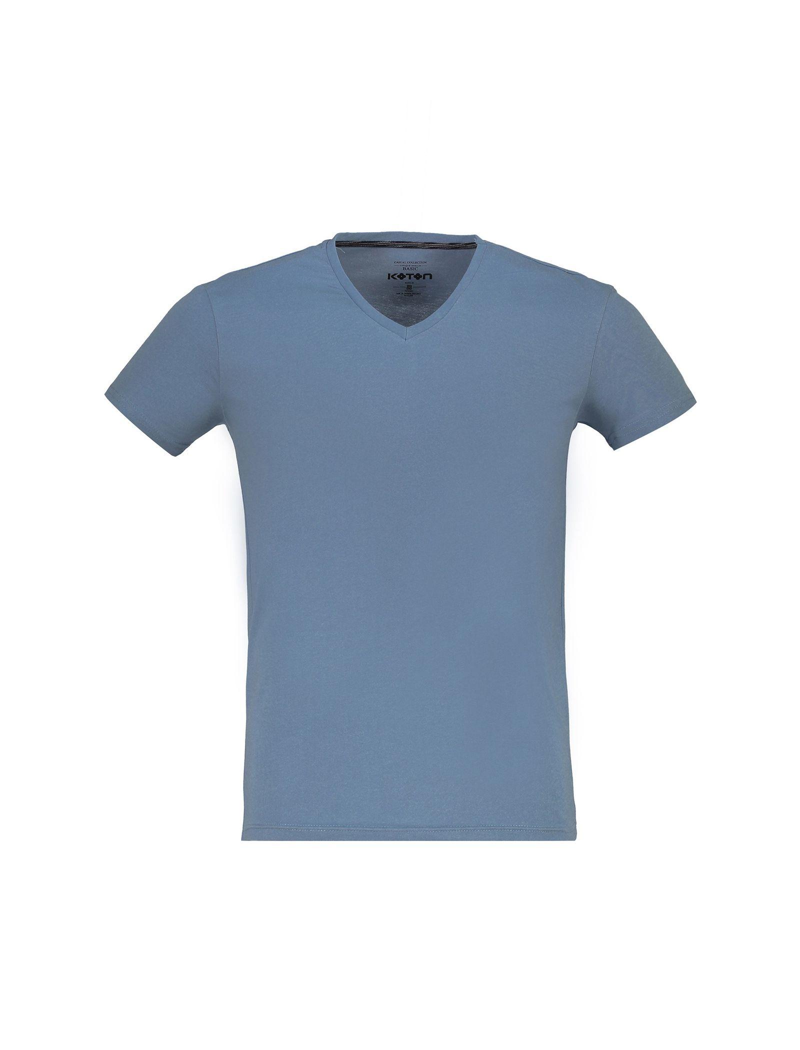 تی شرت نخی یقه هفت مردانه - کوتون - آبي - 1